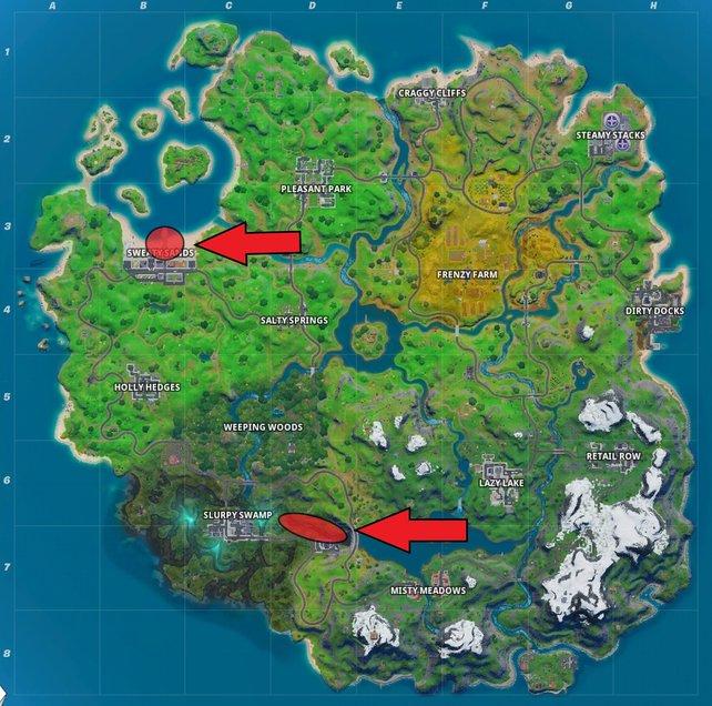 In den rot-markierten Regionen könnt ihr in Fortnite Objekte mit Sprungflächen finden. Sonnenschirme im Nordwesten und Seerosen im Süden.