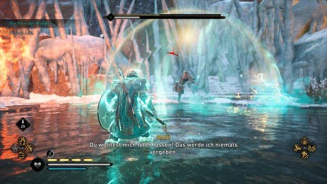 Loki hat viele Fähigkeiten, die er im Kampf gegen euch einsetzt. Dennoch solltet ihr abwartend agieren.