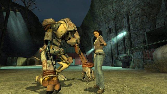 Alyx Vance und ihr Roboterbegleiter Dog in Half-Life 2.