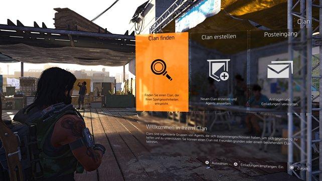 Im Menü könnt ihr einen Clan finden, einen neuen erstellen oder den Posteingang einsehen.