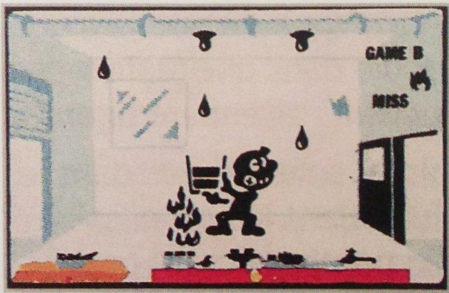 Das erste Abenteuer aus der Reihe Multi Screen heißt Oil Panic - und vor euch seht ihr das Geschehen auf dem oberen Bildschirm: ein Zimmer mit einer lecken Ölleitung.