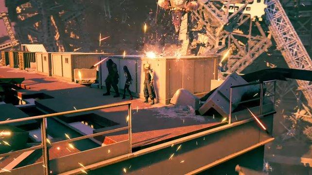 Solange ihr euch hinter den Containern versteckt, seid ihr in Sicherheit. Um voranzukommen müsst ihr nun die kurzen Feuerpausen abpassen.