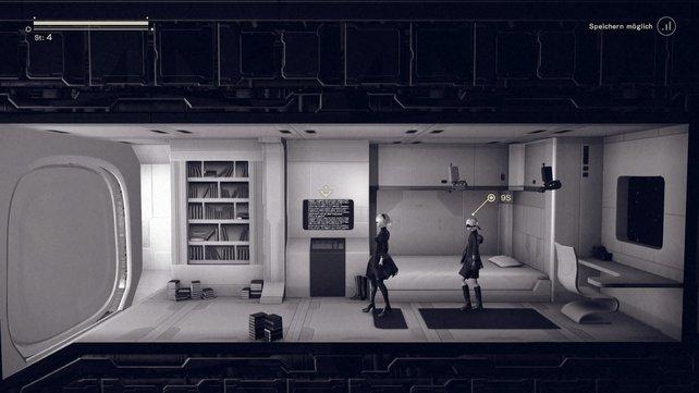 Im Bunker könnt ihr überall speichern. Euer eigener Raum bietet euch einen Shop und ein Bett.