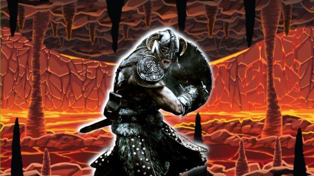 Ein Skyrim-Spieler bekämpft seine Gegner mithilfe eines furchteinflößenden Höllentors. (Bildquelle: Getty Images/November_Seventeen.)