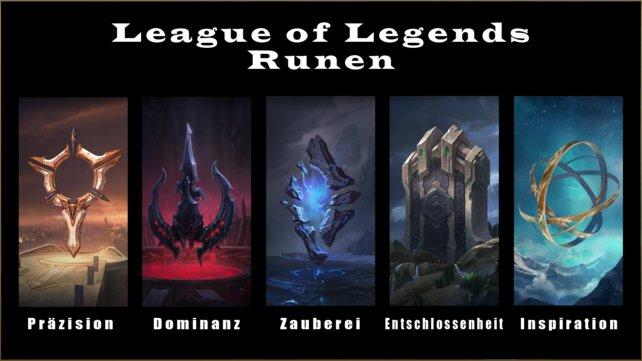Hier seht ihr eine Übersicht der Runen-Kategorien von LoL.