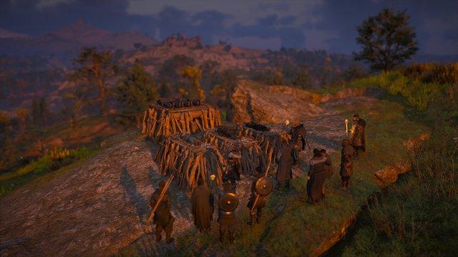 Im Anschluss an die Schlacht von Cippanhamm bestatten Eivor und seine Verbündeten ihre gefallenen Verbündeten.