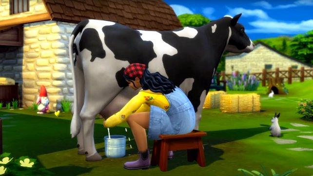 Kühe melken gehört auch zu den neuen Aufgaben im brandneuen DLC von Die Sims 4. Bildquelle: EA.