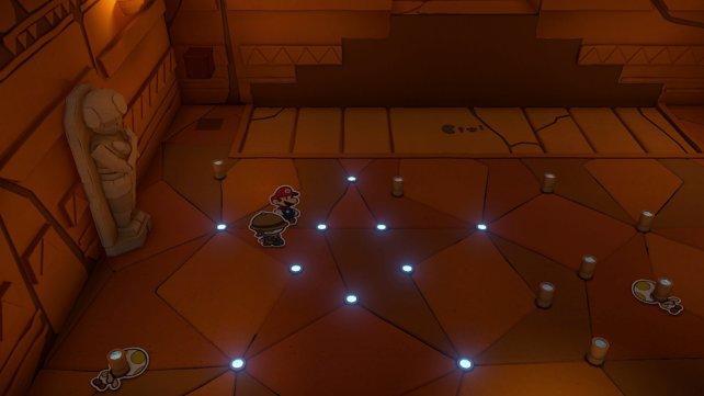 Drückt diese Lichtstäbe ein, um das Rätsel zu lösen.