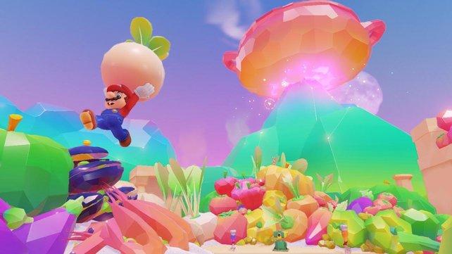 Das Schlemmerland ist ein wahrhaft psychedelischer Farbtraum. Und Mario darf Rettiche pflücken, wie schon in Super Mario World 2!