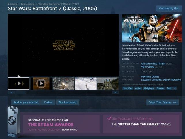 """Fans wollen, dass das klassische SWBF2 die Auszeichnung """"Besser als das Remake"""" gewinnt."""