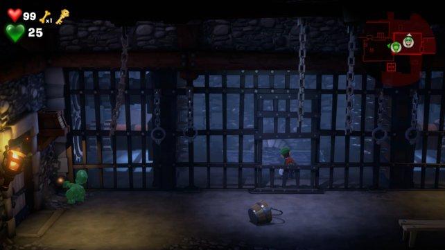Wenn ihr zu langsam seid, wird Luigi von den Wänden zerquetscht.