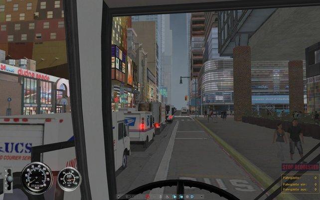 Stau auf der 42. Straße, zum Glück gibt es eine Busspur.
