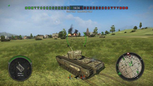 Auf grünen Wiesen walzt unser Churchill MK I unaufhaltsam in die Schlacht.