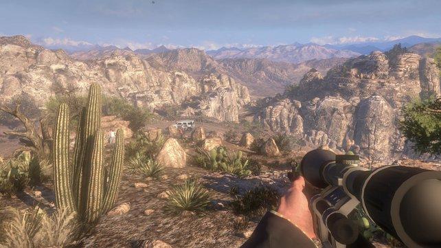 Am Fuß des Berges parkt ein verdächtiger Wagen. Das Scharfschützengewehr verschafft einen Vorteil.