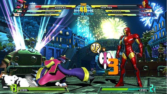 Iron Man harrt gelassen der Bombe, die Hsien Ko im kredenzt.