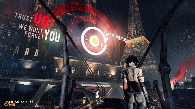 Holografische Werbetafeln des hinterhältigen Konzerns MemorEyes bepflastern die Stadtkulisse.