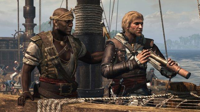 Euer Quartiermeister Adéwalé (links im Bild) gibt euch hilfreiche Tipps und gehört wie Edward dem Bund der Assassinen an.