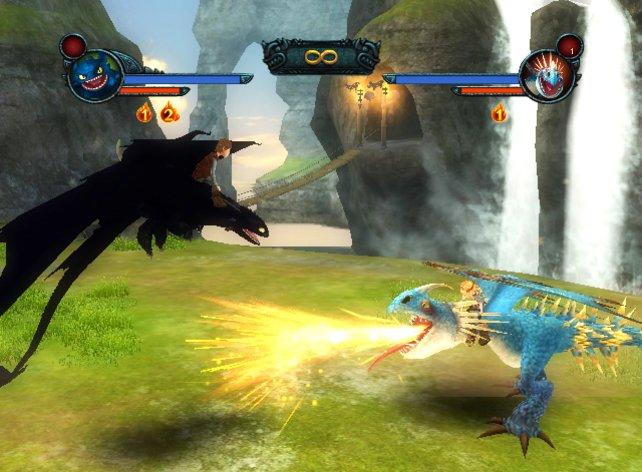 Hicks kämpft gegen Astrid, die zwei Haupthelden des Spiels.