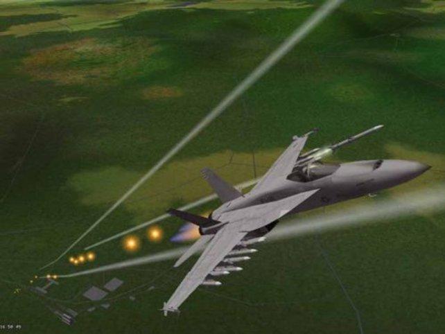 Die Bodengeschütze werden dem Flieger kaum gefährlich