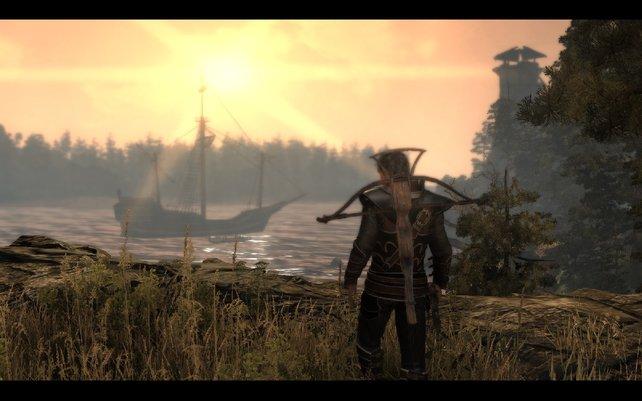 In der Bucht liegt das Schiff vor Anker. Ist das nicht romantisch?