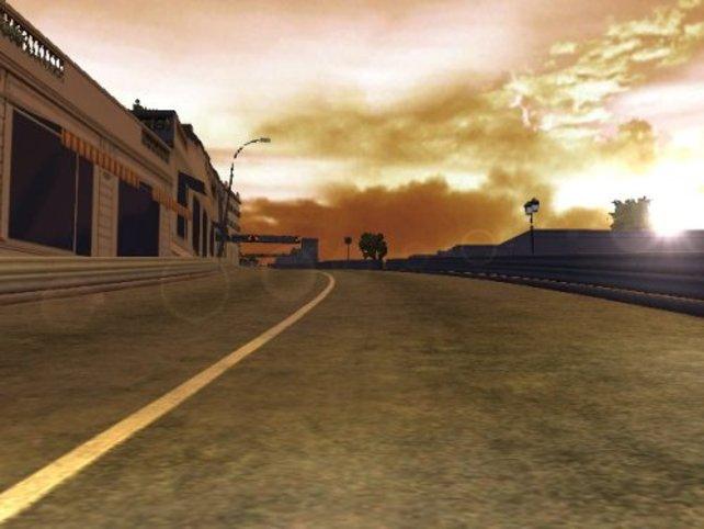 Sonnenuntergang während des Rennens