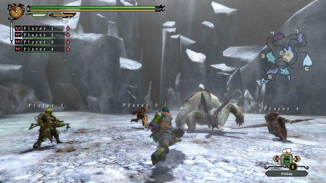 Vier Spieler stellen sich gemeinsam einem Lagombi. Der Killerhase ist sichtbar unerfreut darüber.