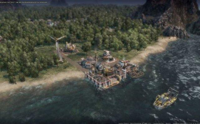 Wie immer schippert ihr zunächst zu einer Insel und errichtet einen Hafen (Anno 2070).