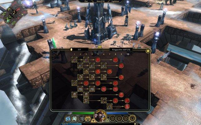 Mit Kriegspunkten verbessert irh Gebäude und neutrale Einheiten.