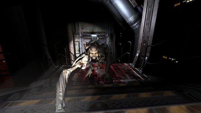 Gruselige Dämonen trachten nach eurem Leben - an der Tagesordnung in Doom 3.