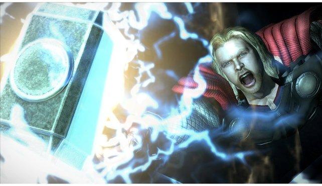 Donnergott Thor und sein Hammer Mjolnir.
