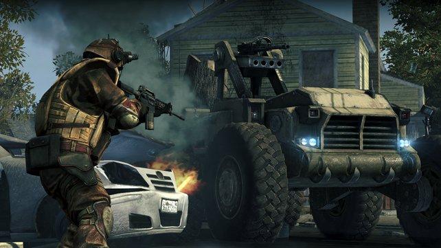 In einigen Gefechten kann Jacobs auch Fahrzeuge steuern.