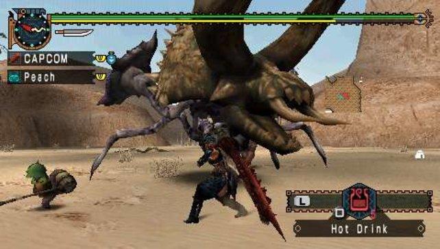 In Monster Hunter Freedom Unite jagt ihr riesige Drachen, Dinos und alles, was sich sonst lohnt.