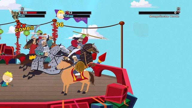 In South Park - Der Stab der Wahrheit kämpft ihr gegen ausgefallene Gegner, wie beispielsweise eine Mongolische Horde.