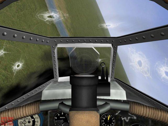 Das Cockpit eines zerschossenen Flugzeugs