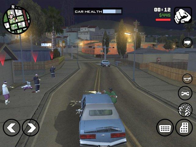 Auf den Straßen von San Andreas heizt ihr in schnellen Autos umher und erledigt unliebsame Zeitgenossen.