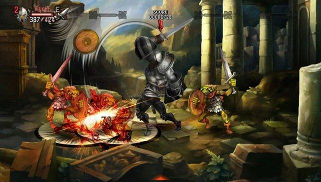 In handgezeichneter 2D-Optik knüppelt ihr Gegner und Bosse unermüdlich nieder.