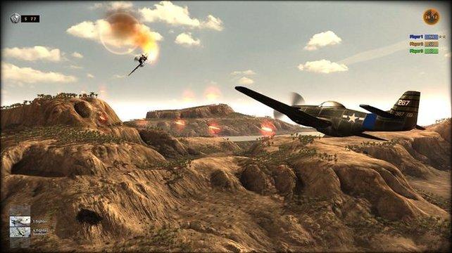 Auch Flugzeuge hetzt ihr auf den Feind.