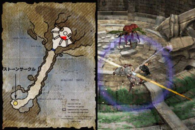 Ihr haltet den DS wie ein Buch, auf dem linken Screen seht irh die Karte.