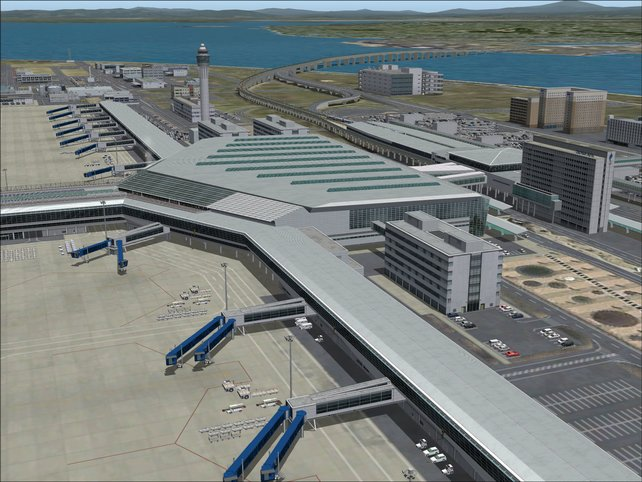 Der Flughafen - groß, polygonarm, langweilig.