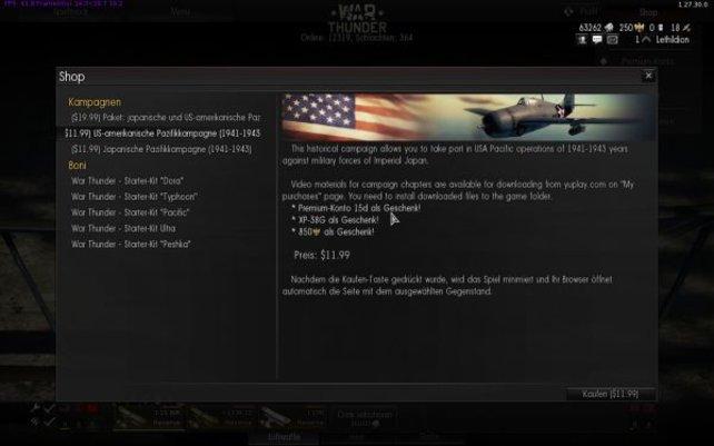 Die amerikanische Pazifikkampagne kostet im Shop von War Thunder etwa 9 Euro.
