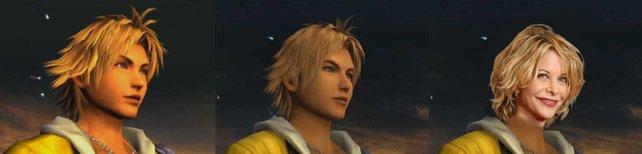 Ein Grafikvergleich: Links Tidus im PS2-Original, mittig die HD-Version, rechts Meg Ryan.