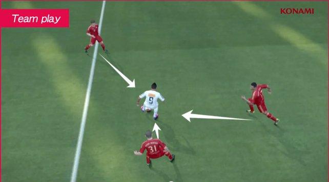 Per Knopfdruck nehmen bis zu drei Verteidiger den Ballführenden in die Mangel.