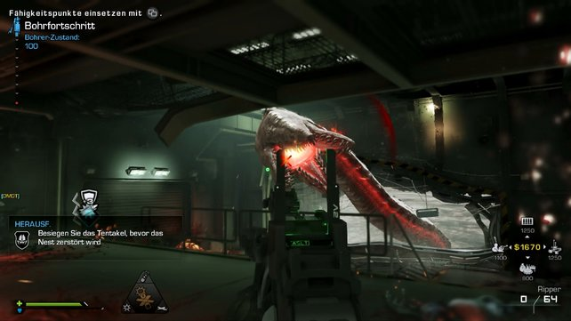 Neben Alien-Handlangern bekämpft ihr auch riesige Tentakel.