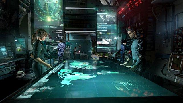 In der fliegenden Kommandozentrale plant Sam Fisher mit seiner rechten Hand Grim (links) den nächsten Einsatz.