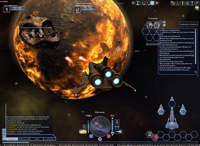 Battlestar Galactica Online: Spannende Weltraumkämpfe in schicker Grafik.