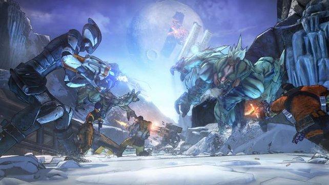 Die vier Helden kämpfen gegen einen Bullymong.