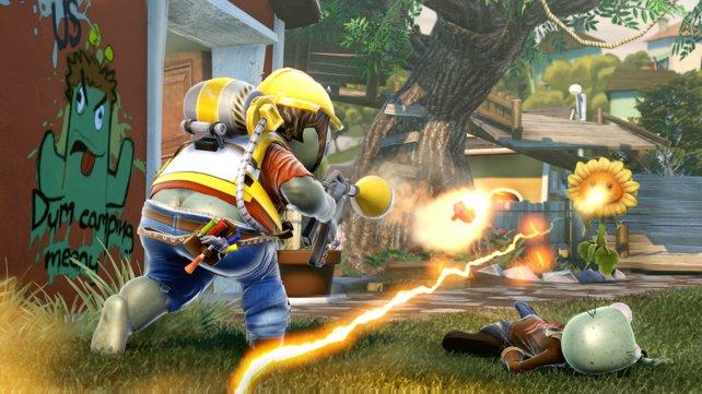 Der Ingenieur-Zombie greift auf seinen durchschlagskräftigen, aber langsamen Betonwerfer zurück, die Sonnenblume ist dagegen eher ein Spezialist in Sachen Team-Heilung.