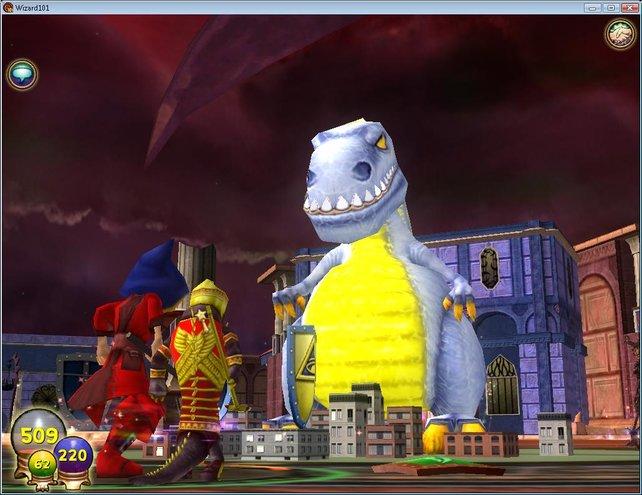 Ist es Godzilla? In Wizard 101 trefft ihr auf allerlei seltsame Gestalten.