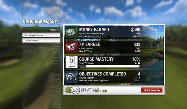 Die Round-Summary zeigt an, was ihr in der absolvierten Runde erreicht habt.