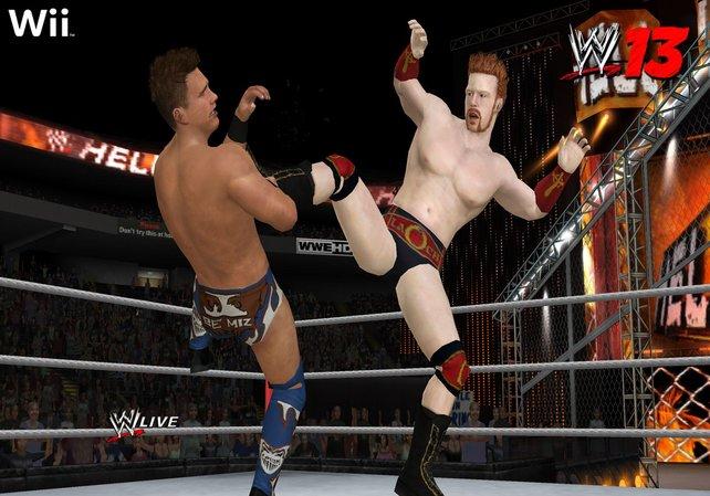 Sheamus tritt seinen Gegner zu Boden. Für Wii-Verhältnisse sieht das sehr schick aus.